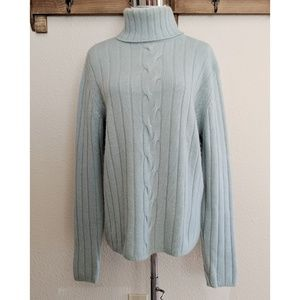 Soft teal two ply cashmere sweater